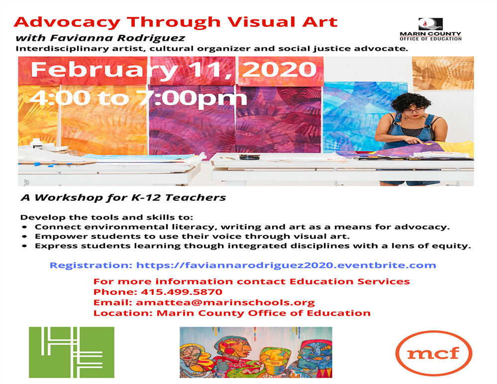 Image of the Advocacy Through Visual Art workshop flyer