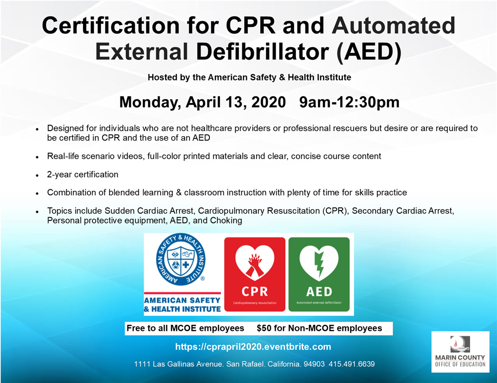 Image of the CPR and AED Certification workshop flyer
