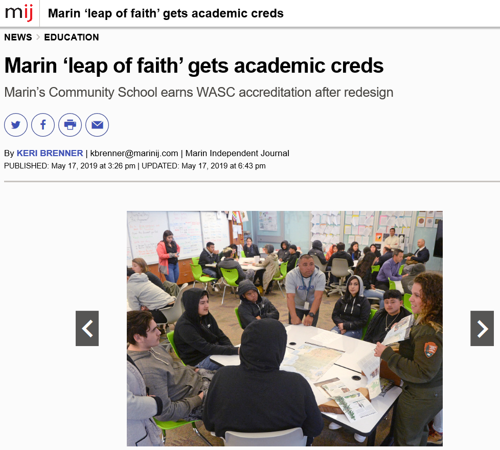 Marin Independent Journal News on Marin's Community School Accreditation