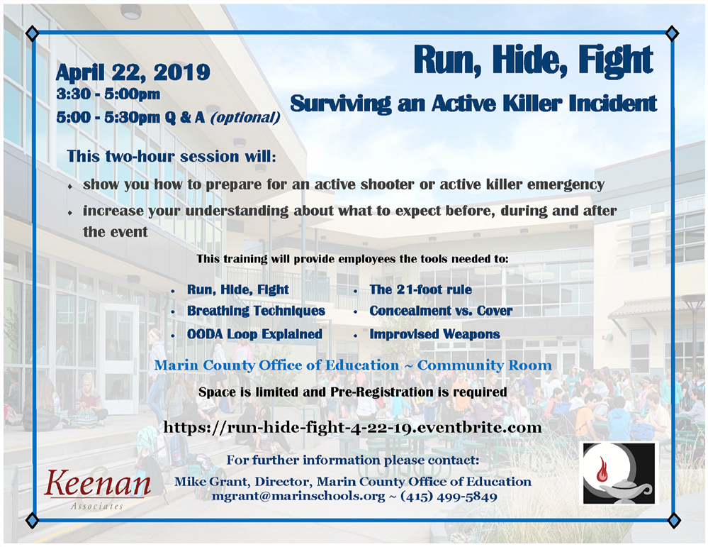 Image of the Run-Hide-Fight Flyer for April 2019