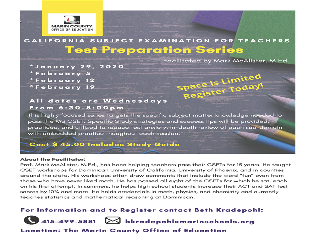 Image of the Test Preparation Series workshop flyer