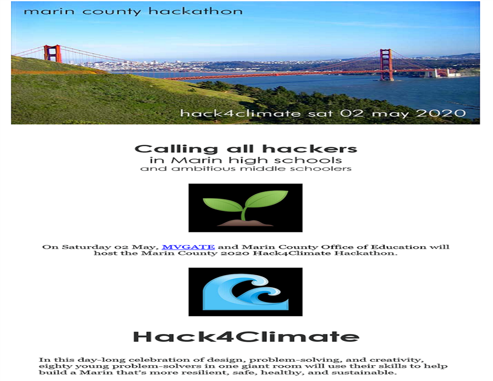 Image of the Marin County Hackathon Flyer